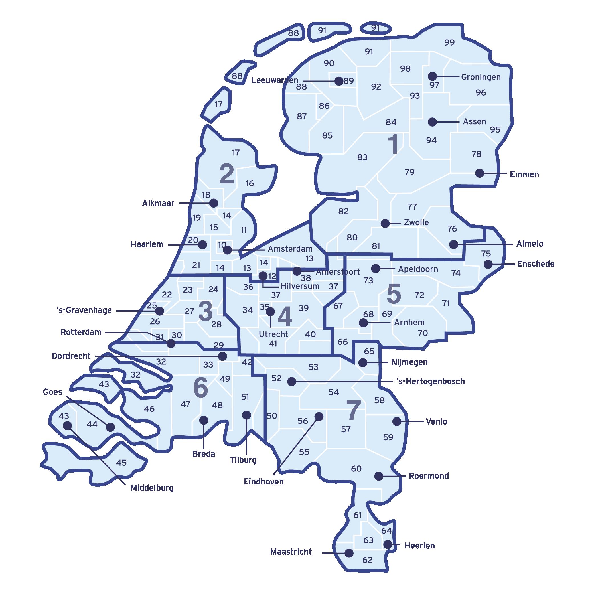 Regio indeling - Kaart